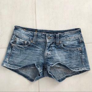 Miss Me Distressed Rhinestone Stretch Shorts